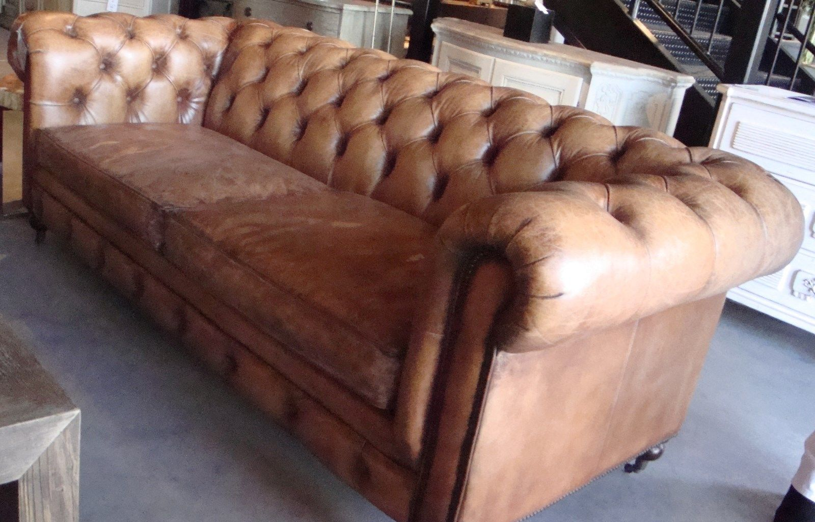 - Antique Buffalo Leather Sofa Chesterfield Style Button Tufted 96
