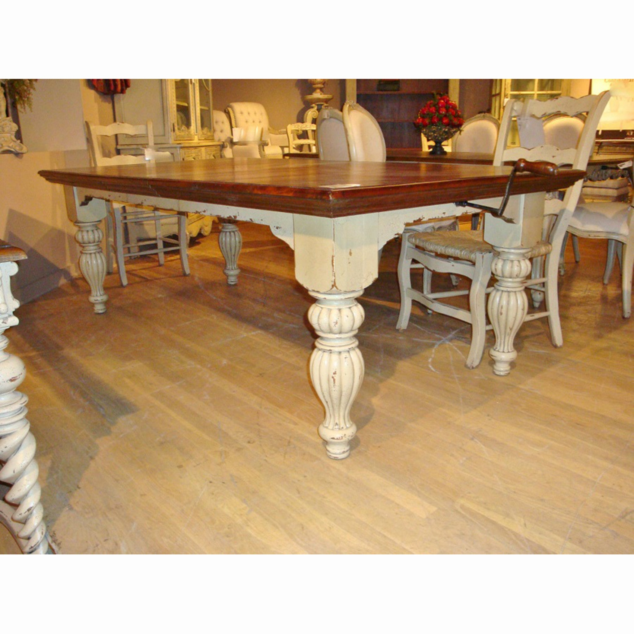 Sophia Farmhouse Distressed Parchment Dining Table - Furniture on Main