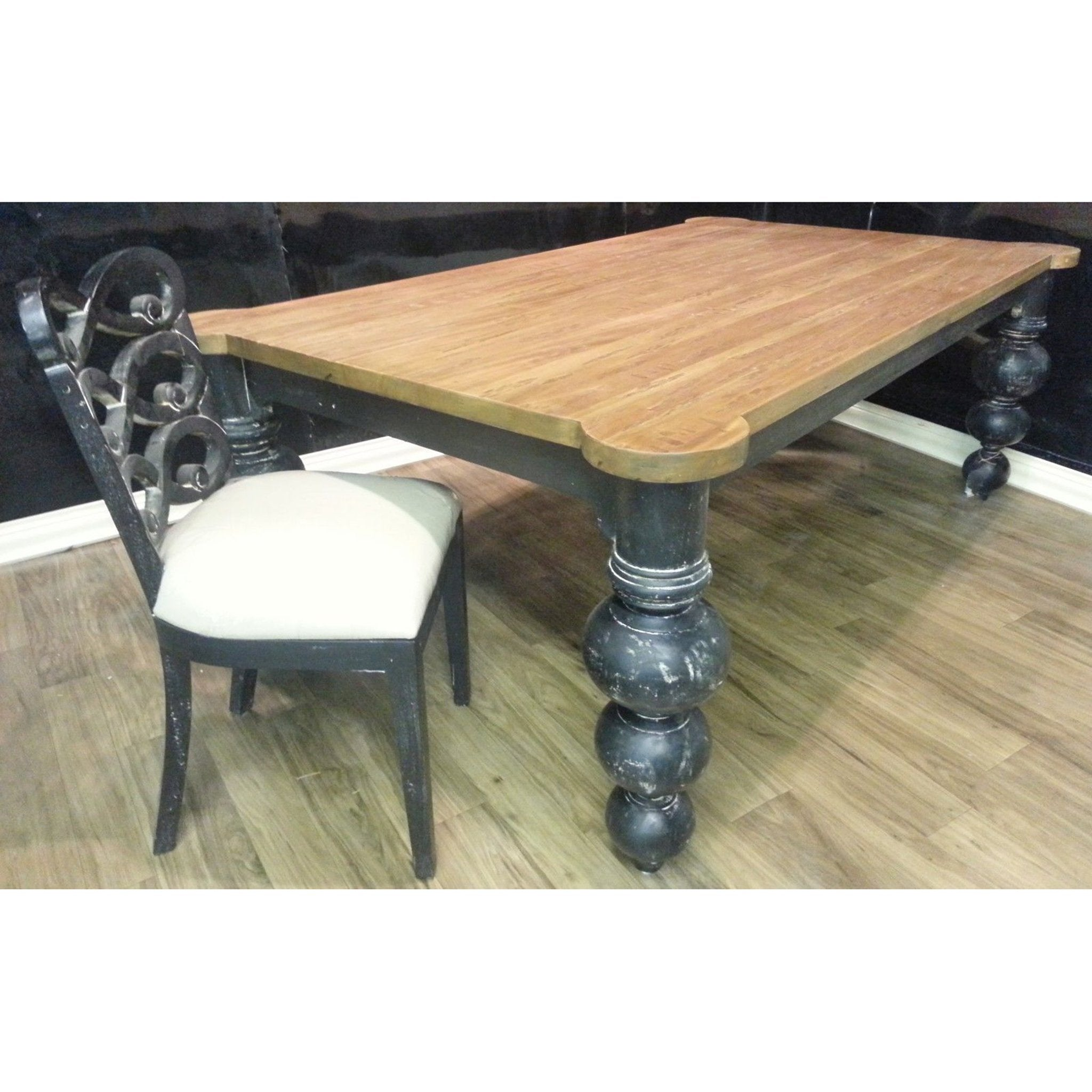 "Steven Shell 84"" Boules Dining Table Black Distressed - Furniture on Main"