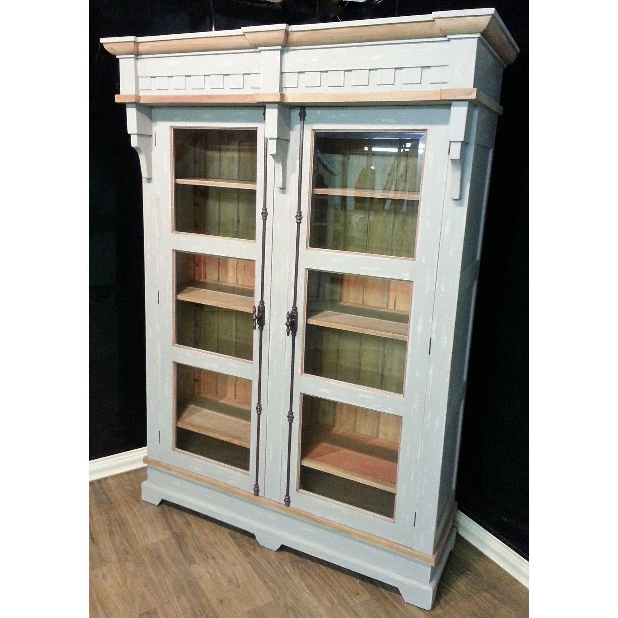 Steven Shell Hyde Two Door Display Cabinet Bookcase Grey Crush