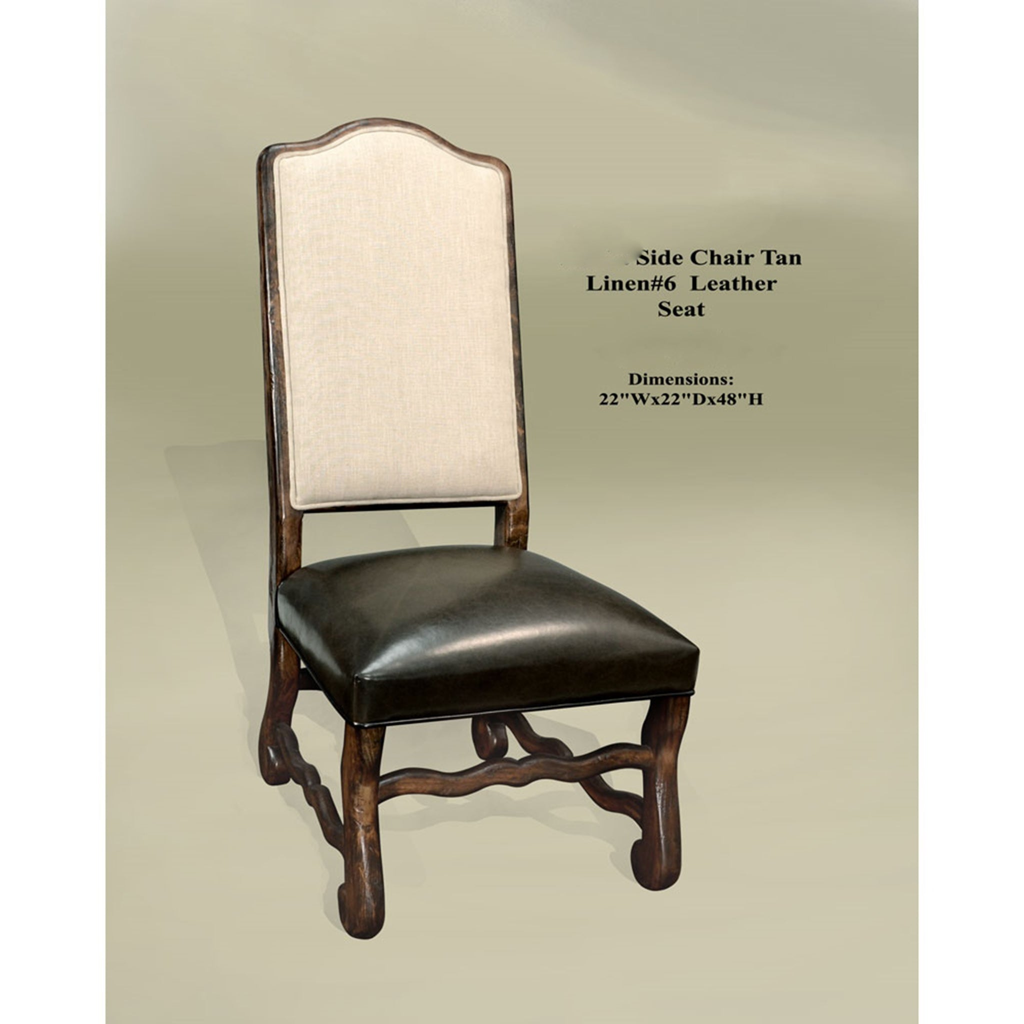 Tuscan Linen Sierra Side Chair Linen Upholstery Brown Leather Seat Set of 2 - Furniture on Main