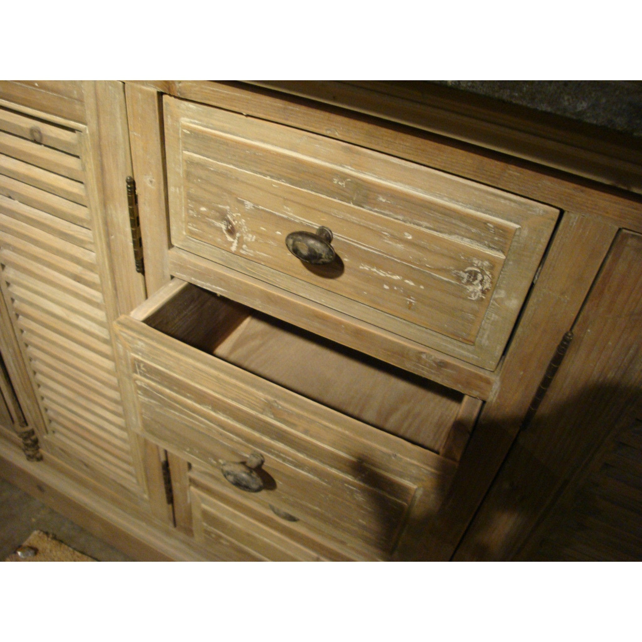 Weathered Pine Shutter Double Vanity with Sinks Bluestone Top