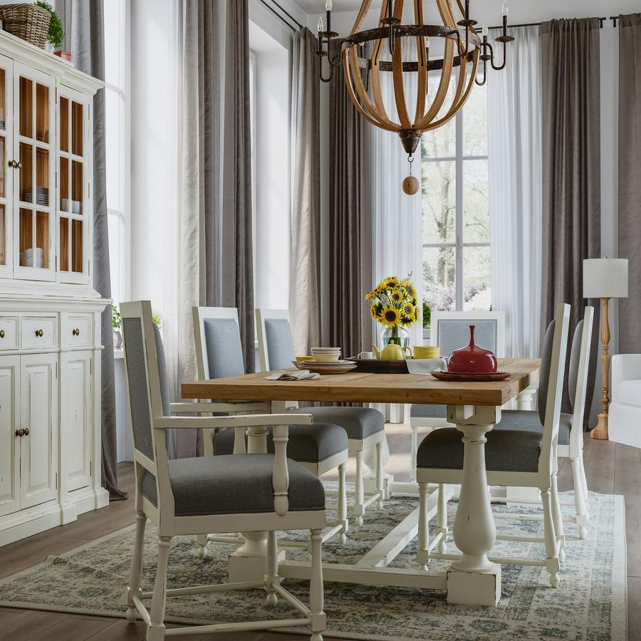 Farmhouse Trestle Dining Table White & Driftwood
