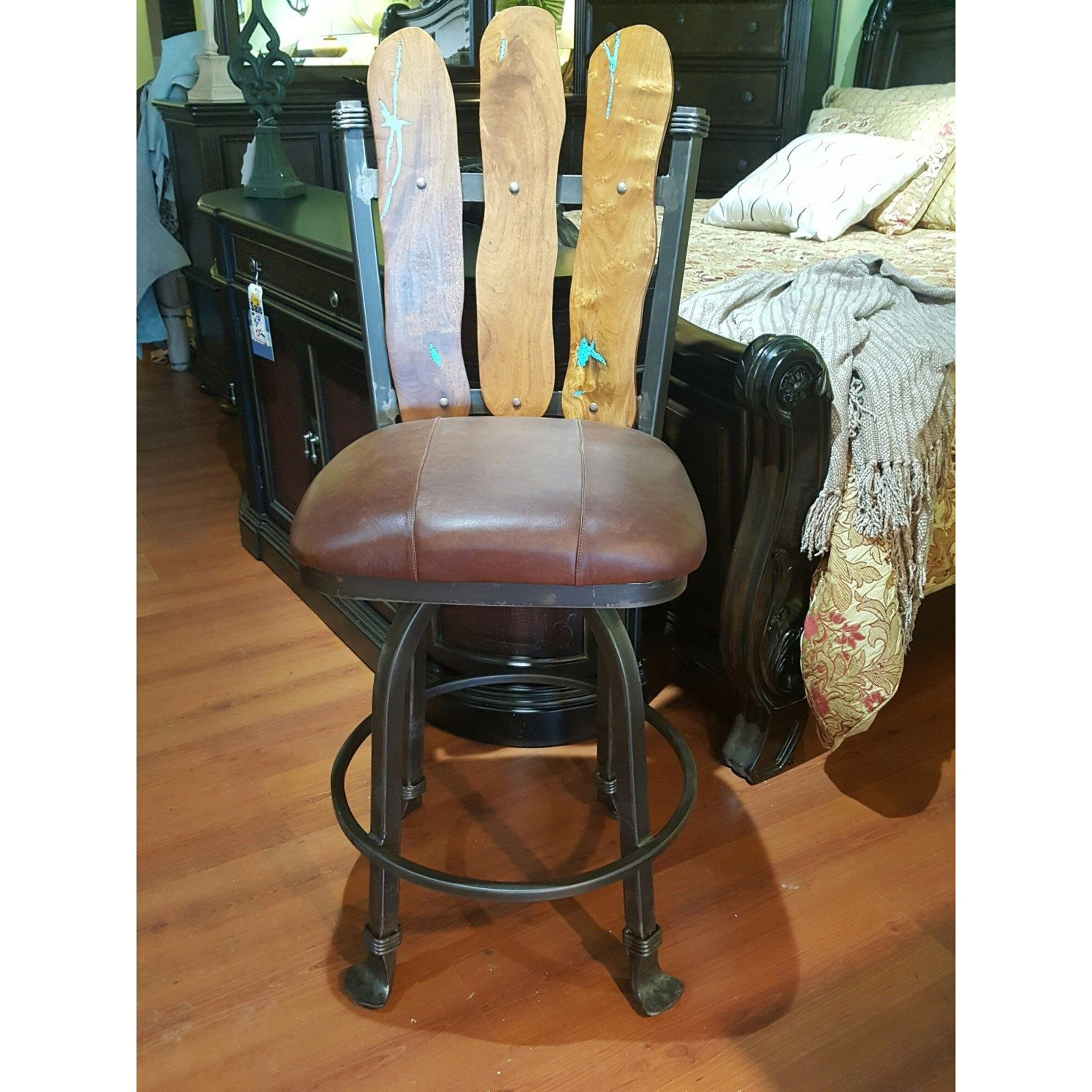 Wrought Iron Barstool Mesquite Wood with Inlaid Turquoise Rustic Set of 2 - Furniture on Main