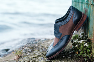 Amen Blue Tweed Brogue