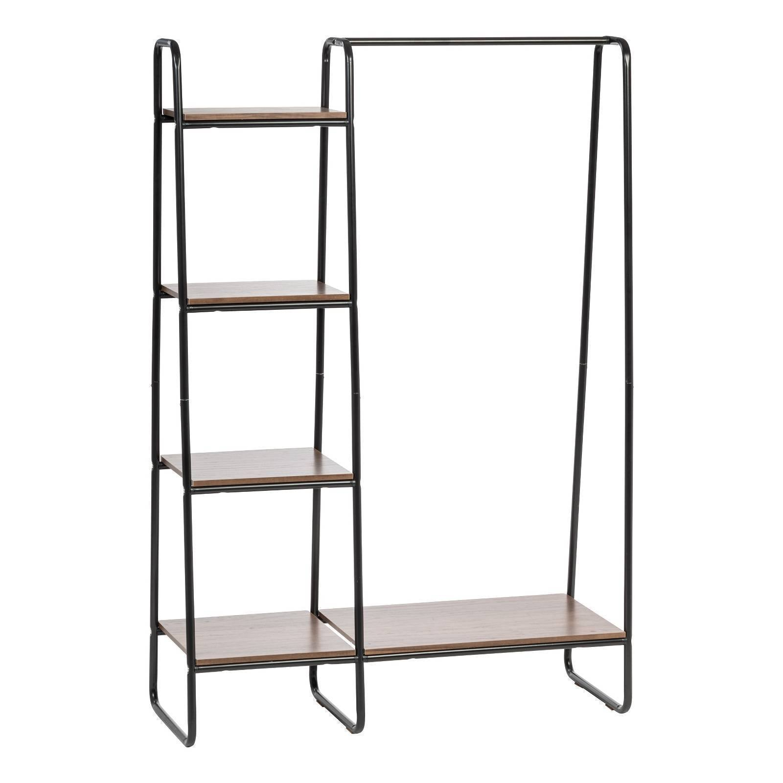 Iris Metal Garment Rack With Wood Shelves  Black