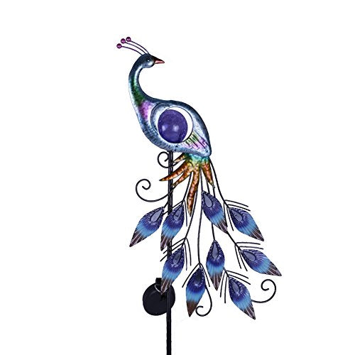 "31.5"" Outdoor Paradise Metal Garden Stake with Solar Led Lights - AsitiGift"