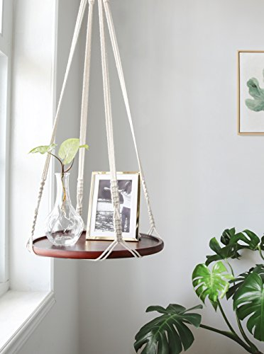 Mkono Macrame Hanging Shelf Indoor Plant hanger Planter Rack Flower - AsitiGift