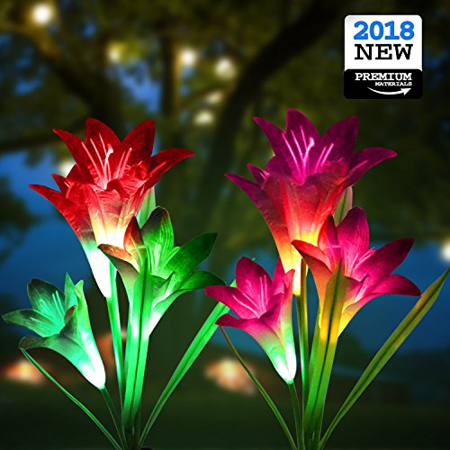 New Solar Garden Lights, Multi-Color Changing Lily Solar Flower Lights - AsitiGift