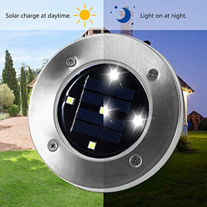 Solar Ground Lights Waterproof Patio Light with Dark Sensing - AsitiGift