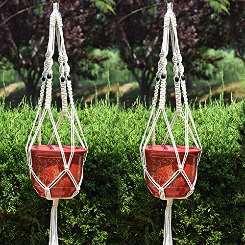 2Pcs Macrame Plant Hanger Indoor Outdoor Hanging Planter Basket Cotton Rope - AsitiGift