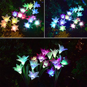 Outdoor Solar Garden Stake Lights Multi-color Changing LED - AsitiGift