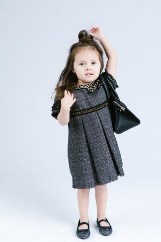 Doe a Deer - Frayed Tweed Shift Dress