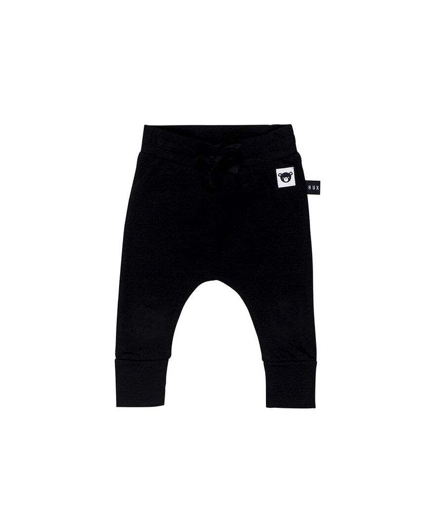 HUXBABY - Black Jersey Drop Crotch Pants