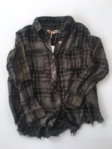 Image of Vintage Havana - Grey & Black Plaid Shirt
