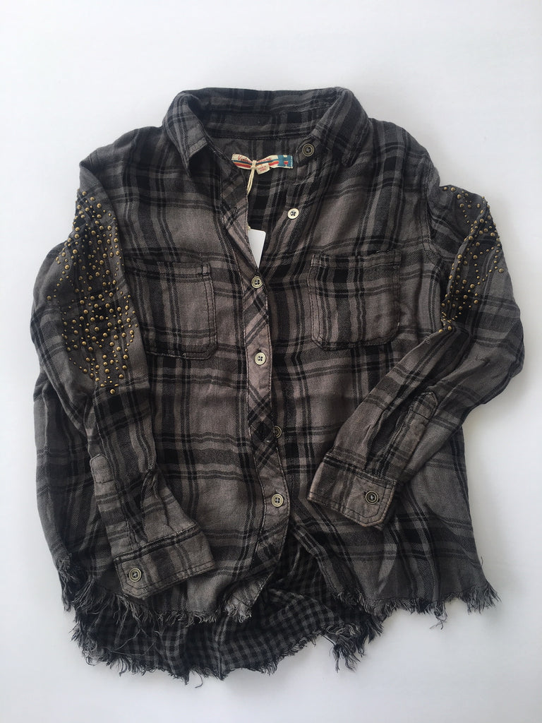 Vintage Havana - Grey & Black Plaid Shirt