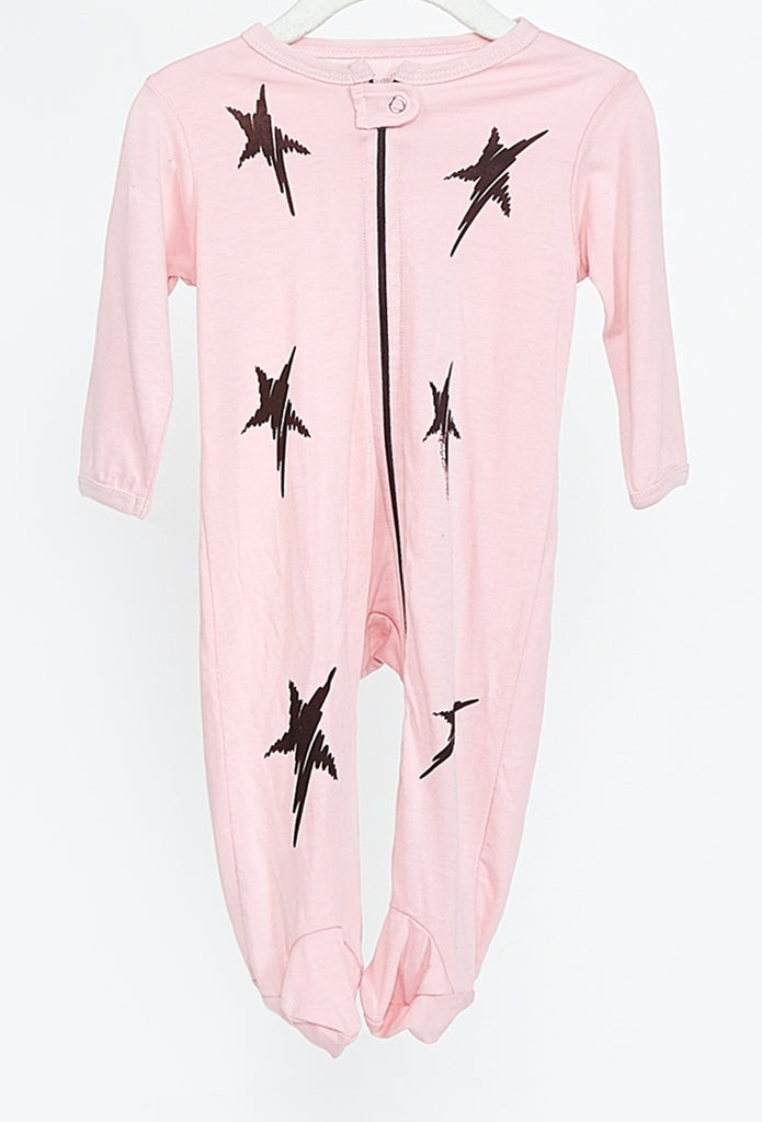 Pluto-Zip Up Baby Onesie – Scribble Mini Stars
