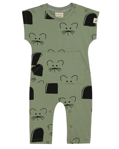 Image of mouse house pocket playsuit