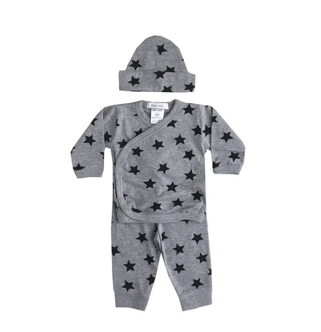 Little Mish - Heather Grey Star 3pc Set