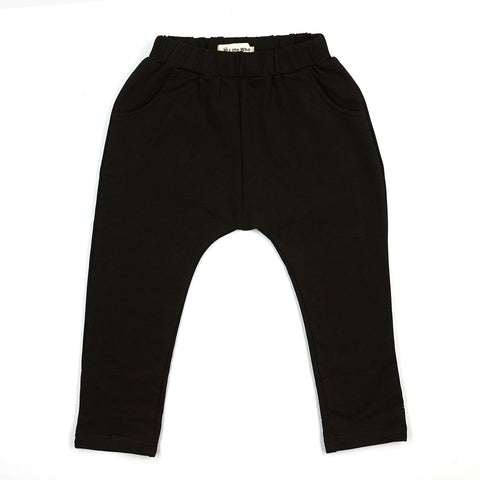 Image of -LITTLE WHO- ELASTIC WAIST JOGGER WITH POCKETS BLACK
