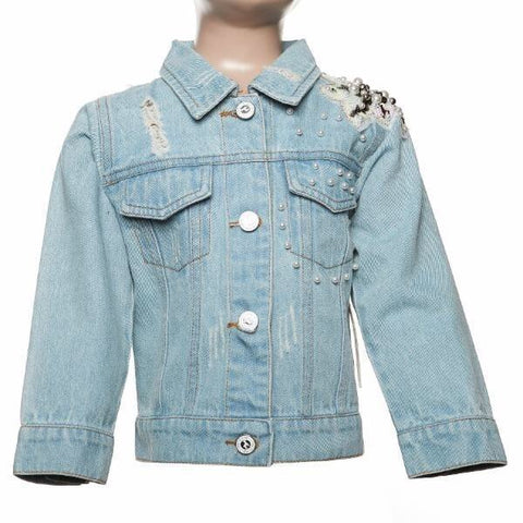 Doe a Deer -  Pearl & Flower Patch Denim Jacket