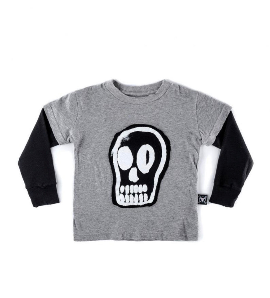 NUNUNU DIZZY SKULL T-SHIRT HEATHER GREY
