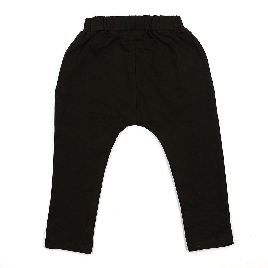 -LITTLE WHO- ELASTIC WAIST JOGGER WITH POCKETS BLACK