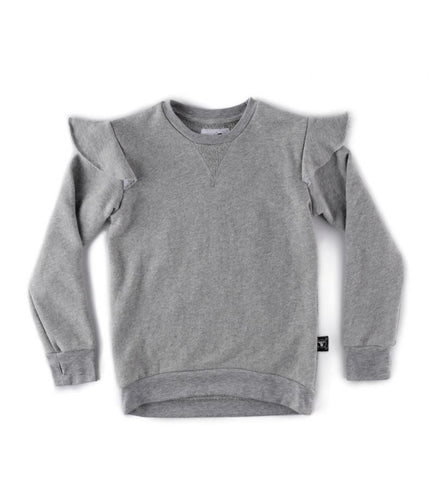 NUNUNU EMBROIDERED STAR SWEATSHIRT HEATHER GREY