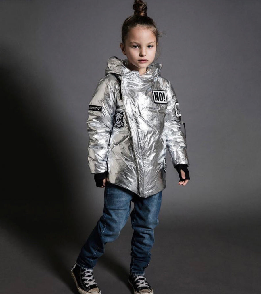 NUNUNU SILVER SUPER PATCH DOWN JACKET