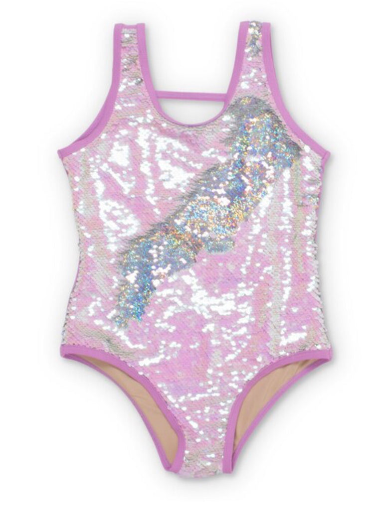 Purple/Silver Flippable Sequins Scoop Swimsuit