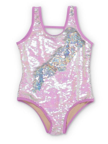 Image of Purple/Silver Flippable Sequins Scoop Swimsuit