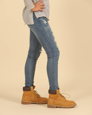 Vintage Havana - Skinny Distressed Jeans With Frayed Hem