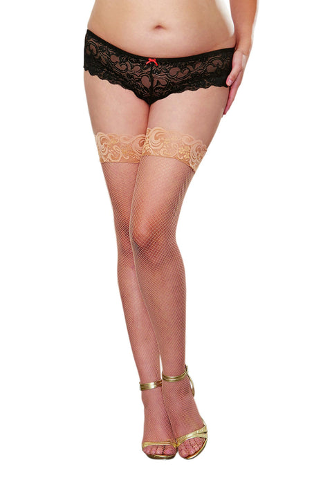Plus Size Fishnet Hold Ups - Silicone Topped (Nude)