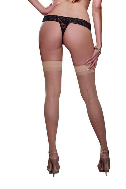 Sheer Hold Up Stockings With Back Seam (Nude)