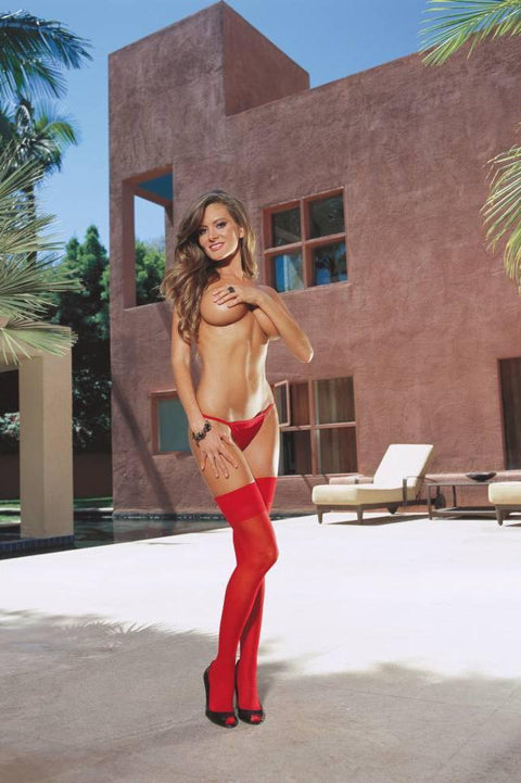 Sheer Hold Up Stockings With Back Seam (Red)