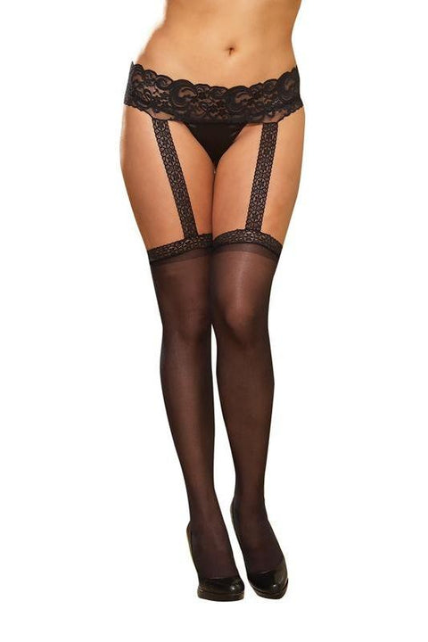 Lace Garter Belt with Stockings (Black)  | BigSmalls™