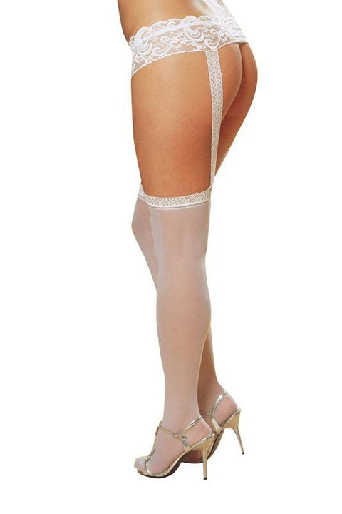 Lace Garter Belt with Stockings (White)