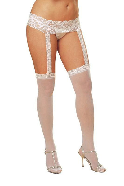 Lace Garter Belt with Stockings (White)  | BigSmalls™