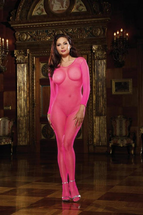 Fishnet Bodystocking (Neon Pink)  | BigSmalls™