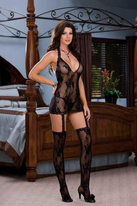 Halter Dress Lingerie (Black)