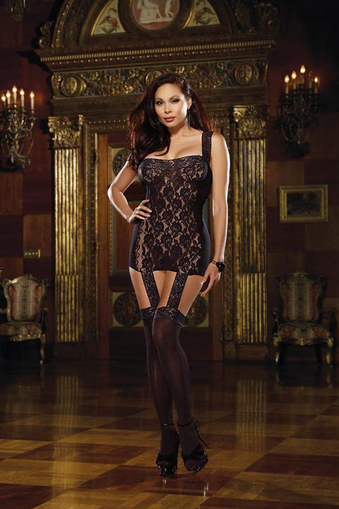 Lace Garter Dress With Stretch Lace Trim Straps  | BigSmalls™