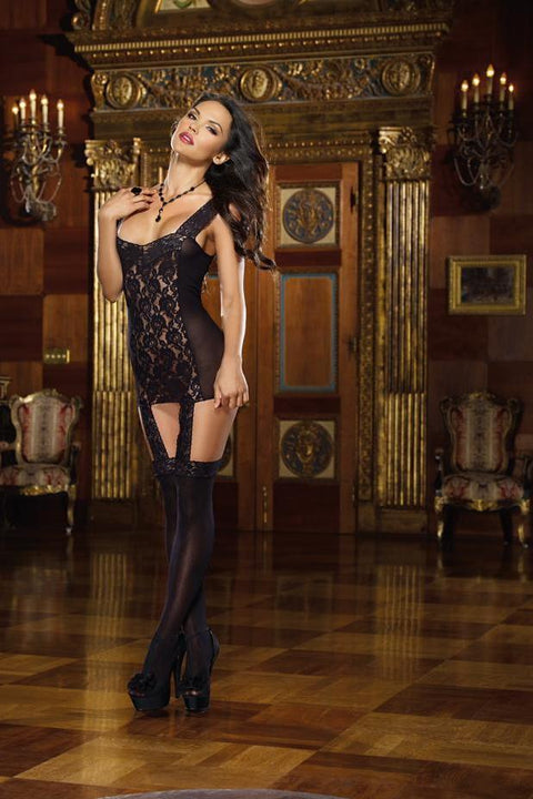 Lace Garter Dress With Stretch Lace Trim Straps