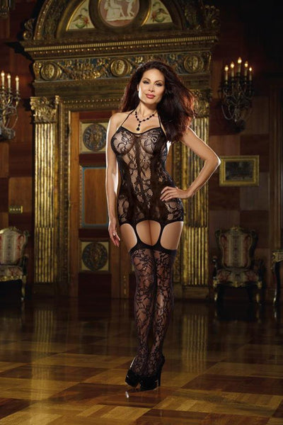 Lace Fishnet Halter Garter Dress  | BigSmalls™