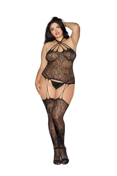 Plus Size Bustier Bodystocking With Cross Straps