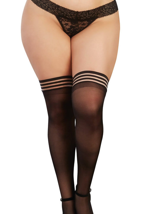 Plus Size Sheer Thigh High Stockings with Elastic Top