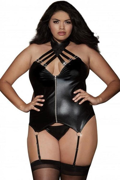 faux leather-look stretch knit halter bustier with stappy neckline detail.   | BigSmalls™