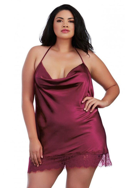 Silky Satin Chemise with Bias Cut Cowl Neck