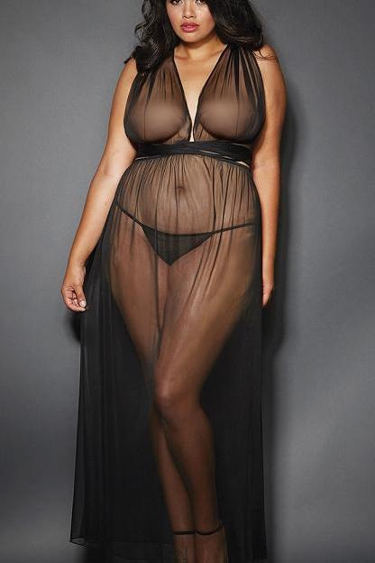 Sheer mesh floor length gown.   | BigSmalls™