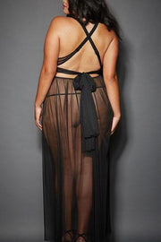 Sheer Mesh Floor Length Gown