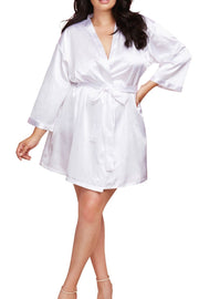 Plus Size Satin Charmeuse Bride Robe with Adjustable Front Tie Closure